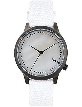 Komono Damen Quarzuhr Armbanduhr Quarzuhrwerk mit Mutter von Pearl Zifferblatt Analog-Anzeige und Weiß Lederband...