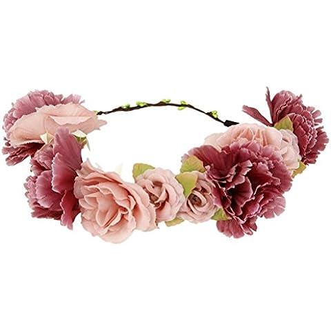 Tinksky Diadema de flor guirnalda Floral bandas chicas cabello accesorios para el cabello para la boda de las mujeres