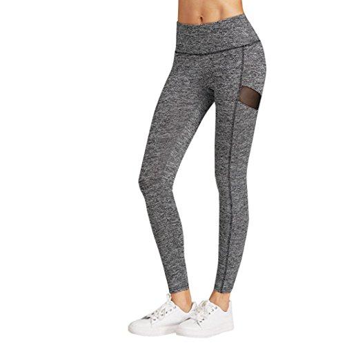 Damen Leggings Ronamick Damen Transparent Net Garn Patches Yogahosen Elastizität Fitness-Hosen (M, Schwarz) (Patch-fitness)