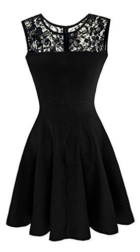 Suimiki Damen ärmellos Rundausschnitt falten A-linie Partykleid mini Cocktailkleid kurz Festliche Kleid Schwarz mit schwarzer Spitze
