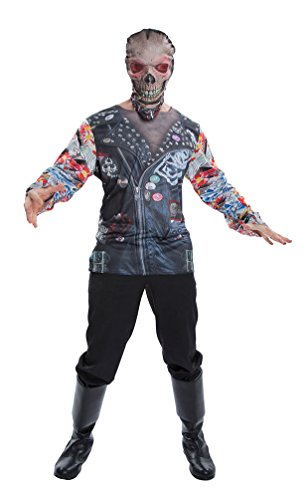 kelett Kostüm Herren T-Shirt Skelett Biker Halloween Horror Herren-kostüm Einheitsgröße (Biker Halloween Kostüme Für Kinder)