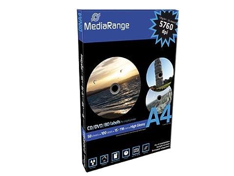 MediaRange CD/DVD/Blu-ray Labels, 15-118 mm, Blanc, Glacé, 100 pièces