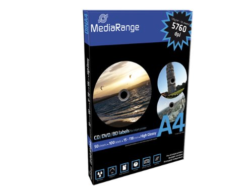 MediaRange Labels for CD|DVD|BD, 15-118mm, high-glossy, Pack 100