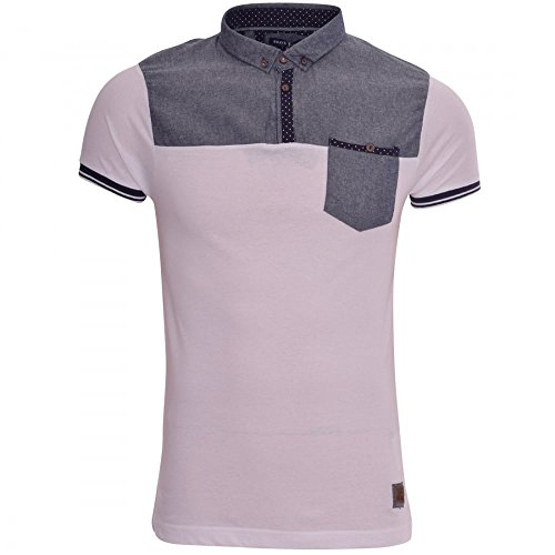 new-mens-designer-brave-soul-collar-polo-t-shirt-smart-casual-with-chest-pocket-x-large-white