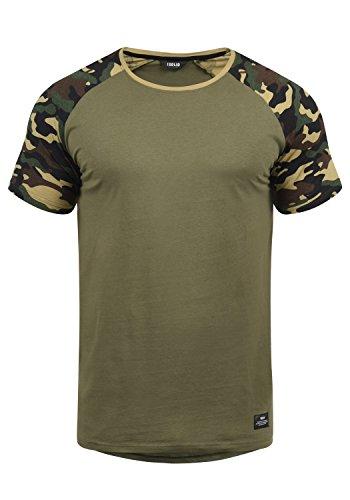 !Solid Cahil Herren T-Shirt Kurzarm Shirt Mit Rundhalsausschnitt Und Camouflage-Muster, Größe:XL, Farbe:Dusty Oliv (3784)