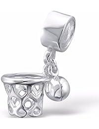SilvadoreCharm de canasta de baloncesto de plata de ley 925, compatible conpulsera Pandora, en caja de regalo