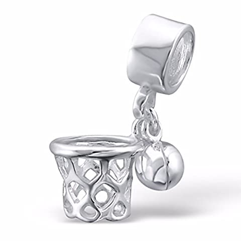 Silvadore - Silver Bead – Basketball Net Sport Bead - 925 Sterling Charm 3D Slide On - Fits Pandora European Bracelet - Free Gift Boxed