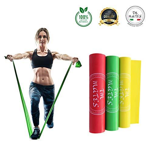 Set di 3 elastici fitness in lattice naturale 100% fasce bande elastiche per allenamento palestra casa fisioterapia yoga riabilitazione pilates ginnastica sport di gambe braccia spalla glutei