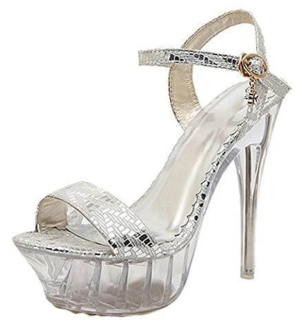 Scothen Mesdames Pompes Stiletto club boucle de fermeture pompes talon haut chaussures à talon plate-forme talons aiguilles bride à la cheville robe soirée chaussures de mariée Pompes Party Escarpins