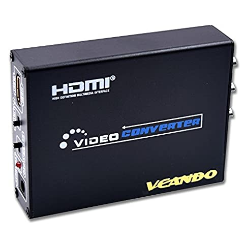 VCANDO HDMI to AV +Composite S-Video 3RCA R/L Audio Vdieo Converter Upscaler Support 720P/1080Pwith RCA/S-video Cable for Blu-Ray HD-DVD DVD Player HDTV HDTV box PS3 PS4 Xbox 360 Wii PC HD