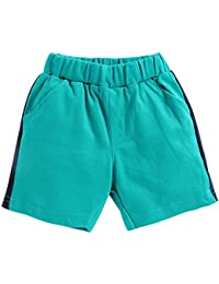 ZERO Boys and Girls Cotton Solid Print Shorts in Turquoise Colour