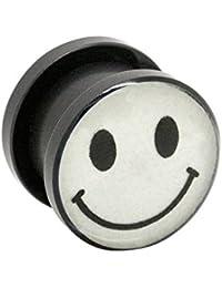 Blue Banana Body Piercing Dilatación Acrílico Glow Smiley Ear Plug (Blanco) - 6-