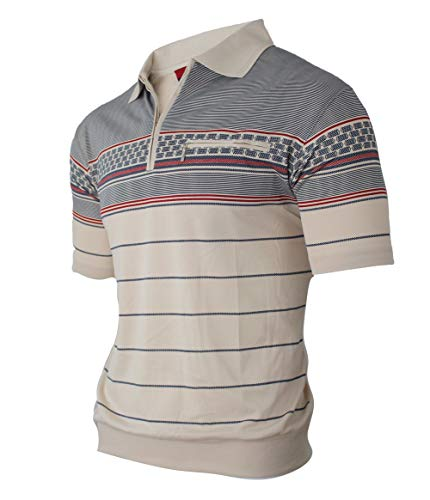 Lässige Cotton Polo Shirt (Humy Herren Kurzarm Gestreifte Polo Shirts, Kragen Polohemd, Modischen Blousonshirts mit Reißverschluss Brusttaschen (M bis 3XL) (3XL, [A] Beige))