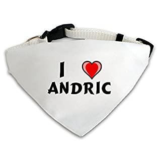 Dog Bandana with I love Andric (first name/surname/nickname)