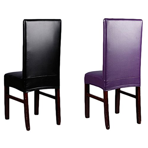 Inroy PU Chair Covers Artificial Stretch Leather Chair Protector Waterproof and Oilproof Universal Seat Slipcovers (4PCS, B-Black)