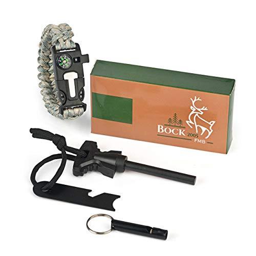 BOCK 2005 Feuerstarter, Armband sowie Pfeife, für Outdoor, Survival und Camping