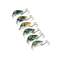 Idea Regalo - Lixada Esche Artificiali Pesca 6 pz 2.5 cm/2.7 g Mini Manovella Esca Set Pesca Esche Artificiali Esca Pesca Gancio