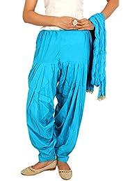 Elegance Sky Blue Color Plain Full Patiala With Dupatta Set