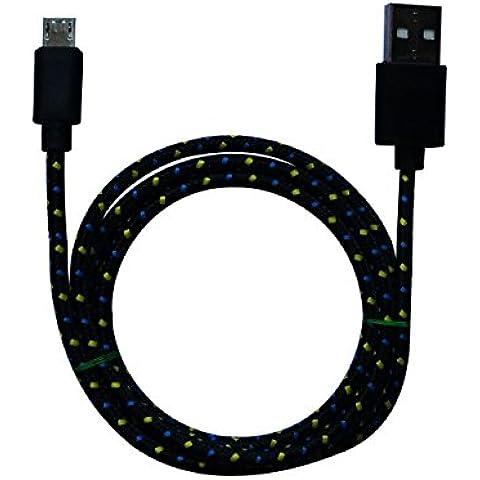 3m MicroUSB a USB de alta velocidad | Cable cargador y de datos | Cable de carga rápida con sección especialmente grande de 4,4 mm | Contactos recubiertos de oro 24 k | para Android, Samsung, HTC, Motorola, Nokia, LG, HP, Sony, Blackberry y más