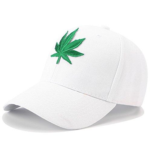 QETUOAD Stickerei Hanf Weed Dad Hüte Hip Hop Hysteresenkappe Straße Schwarz Baseball Caps Für Frauen Männer Sommer Visor Trucker Hut Einstellbar, Weiß