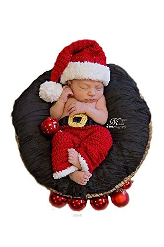 Babymoon Red Crochet Christmas Pants and Cap Set