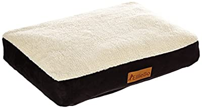 Ellie-Bo Dog Bed with Faux Suede and Sheepskin Topping for Dog Cage/Crate Large 36-inch by Ellie-Bo