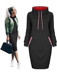 HhGold Vestido de Mujer Camisa Casual de otoño Invierno Vestido para Mujer Escote Alto Mini Vestido