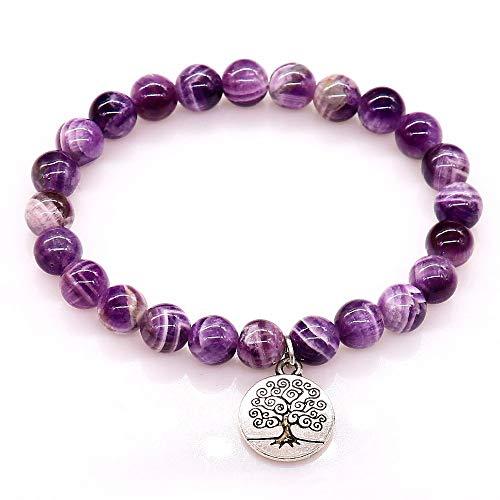 CXKNB Armband Mode Armbänder Lila Kristall Perlen Armbänder & Armreifen Naturstein Mit Leben Von Baum Schmuck Für Frauen Geschenk (Baum Lebens Manschette Des Leder)