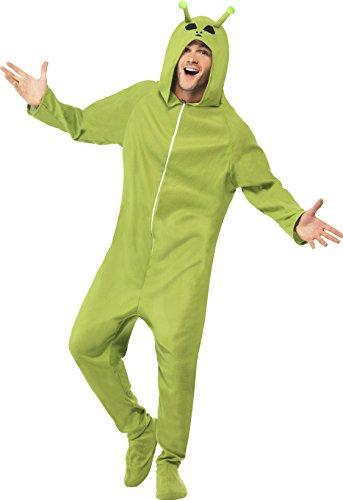 Alien Kostüm Erwachsene (Kostüm Alien Grün mit Kapuzenoverall,)
