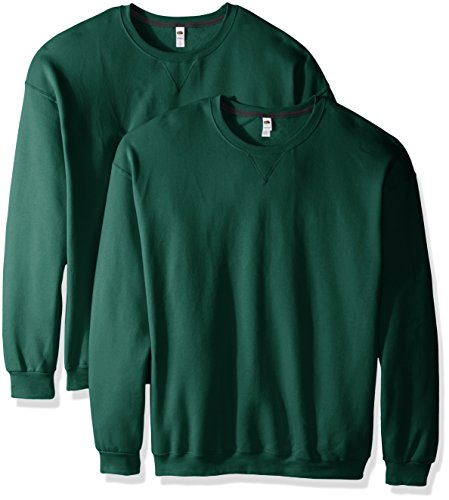 Fruit of the Loom Herren Sweatshirt mit Rundhalsausschnitt, 2er Pack - Grün - XXX-Large -
