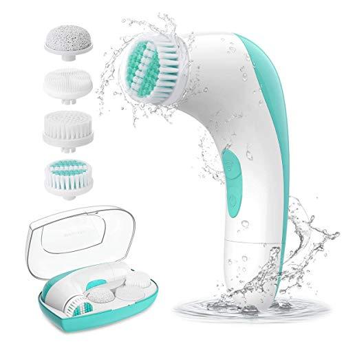 ETEREAUTY - Spazzola professionale per la pulizia del viso, con 4 testine per tutti i tipi di pelle, colore: verde