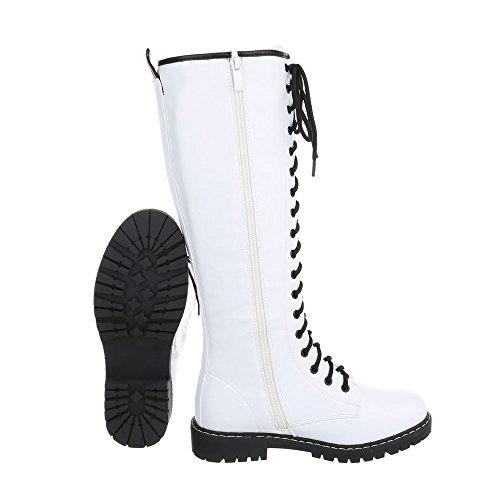 Scarpe da donna Stivali tacco a blocco Stivali con Laccio Ital-Design bianco NC82