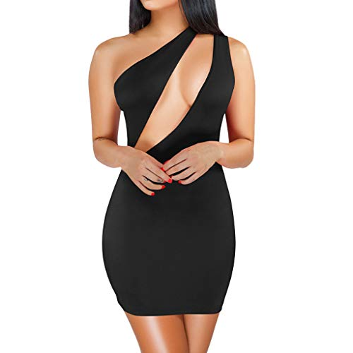 WoWer Damen Kleid Eine Schulter ÄRmellos SpleißEn Packung HüFte Minirock Sexy Elegant Schlank Spaghetti Sommer Strandurlaub Club Party Nachtclub Cocktail Party Abendkleid Sexy Petticoat Teardrop