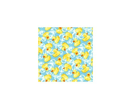 Blauer Stoff mit gelben Quietscheentchen und Seifenblasen von Timeless Treasures (George Hose Kleid)
