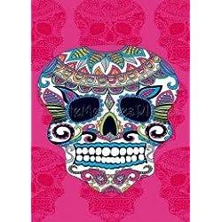 Confort Home M.T (773B Skull Rosa Doble) Toalla DE Playa Gigante 100% ALGODÓN TERCIPELO, Tacto Suave, Muy Absorbente Y Secado RÁPIDO + Pack Tobilleros REGALITOSTV (Calavera Rosa, 140_x_180_cm)