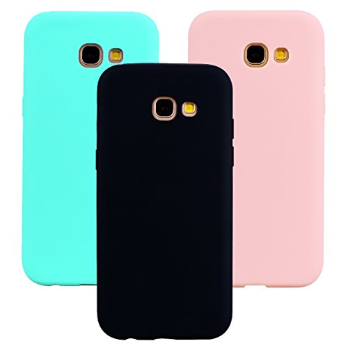 Funda Samsung Galaxy A5 2017, 3Unidades Carcasa Galaxy A5 2017 Silicona Gel, OUJD Mate Case Ultra Delgado TPU Goma Flexible Cover para Samsung A5 2017(Negro, Rosa claro, Verde menta)