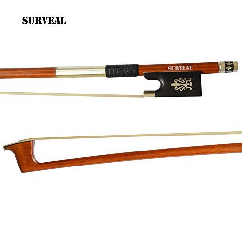 el Pernambuco Violinbogen Bogen geschnitzt mit warmem Sound und bestem elastischem Band (4/4) 4/4 braun ()