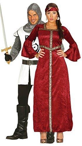 Paare Damen & Herren Mittelalter Noble Knight & Rot Renaissance Prinzessin Gothic historische ST GEORGE Hero Fancy Dress Kostüm Outfits - Weiß, L (Hose Kleid George)