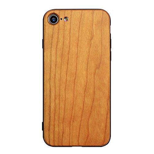 Holzhülle für iPhone 7 4,7 Zoll - Ultraslim Handyhülle Echtem Holz Hülle Schutzhülle Schale mit PC Bumper Hart Backcover Case Etui für Apple iPhone 7 Smartphone (Rosenholz) Kirschholz