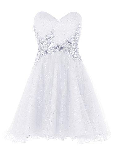 Dressystar Robe femme, Robe de bal courte à Col en Cœur, Sans Bretelles,à paillettes, perlée en Tulle Blanc
