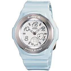 CASIO BABY-G BGA-100-2BER - Reloj de cuarzo con correa de resina para mujer (con cronómetro, alarma, luz), color azul claro