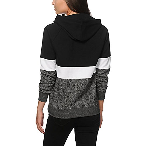 Angashion Damen Frühling Herbst Casual Langarm Pullover Hoodies Sweatshirts Kapuzenpullover Sweatjacke Streifen Schwarz