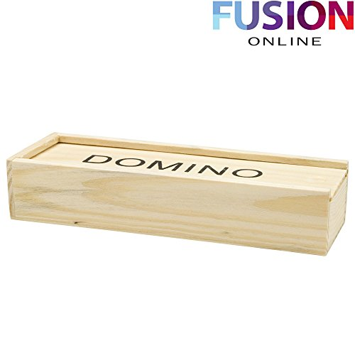 MEDIUM DOMINOS SET IN A WOODEN BOX DOMINO DOUBLE SIX CLUB PUB LEAGUE SET OF 28