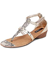 Get Glamr Women's Gold Sandals (Get (GET-1419) - 7 UK