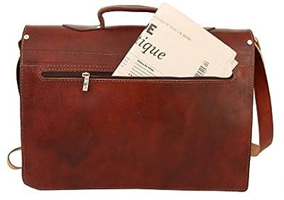 "Gusti Cuir nature ""Harry"" sac bandoulière sac notebook ordinateur portable 15,4"" sac porté épaule besace en cuir sac cuir véritable vintage notebook ordinateur portable marron foncé B5"