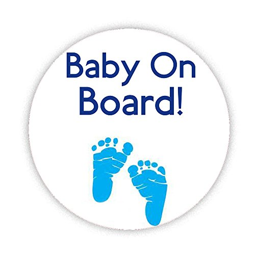 BABY ON BOARD BLUE FOOT PRINTS WHITE BADGE Printed Pinback Button Badge 38mm Small Pin Back Lapel Novelty New Baby and Pregnancy pregnant mum KABOOM GIFTS