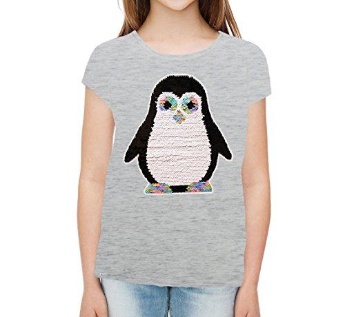 ZipZappa Pinguin Paillette T-Shirt für Mädchen Kurzarm-Top (4 Jahre, Silbergrau) (Top T-shirt Mädchen 4)