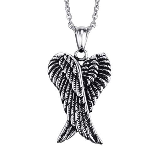WJMSS Edelstahl-Halskette, Schutzengel Flügel Gefiederte Herz Anhänger Halskette für Frauen Männer Antiqued