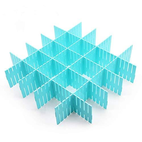 Cozywind 8 Láminas DIY Separadores Cajones, Ajustable Organizador de Cajones para la Ropa Interior Calcetines o Suministros de Oficina (Azul)