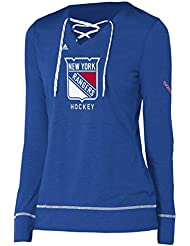 "New York Rangers Women's Adidas NHL ""Wordmark"" Long Sleeve Skate Lace Top"